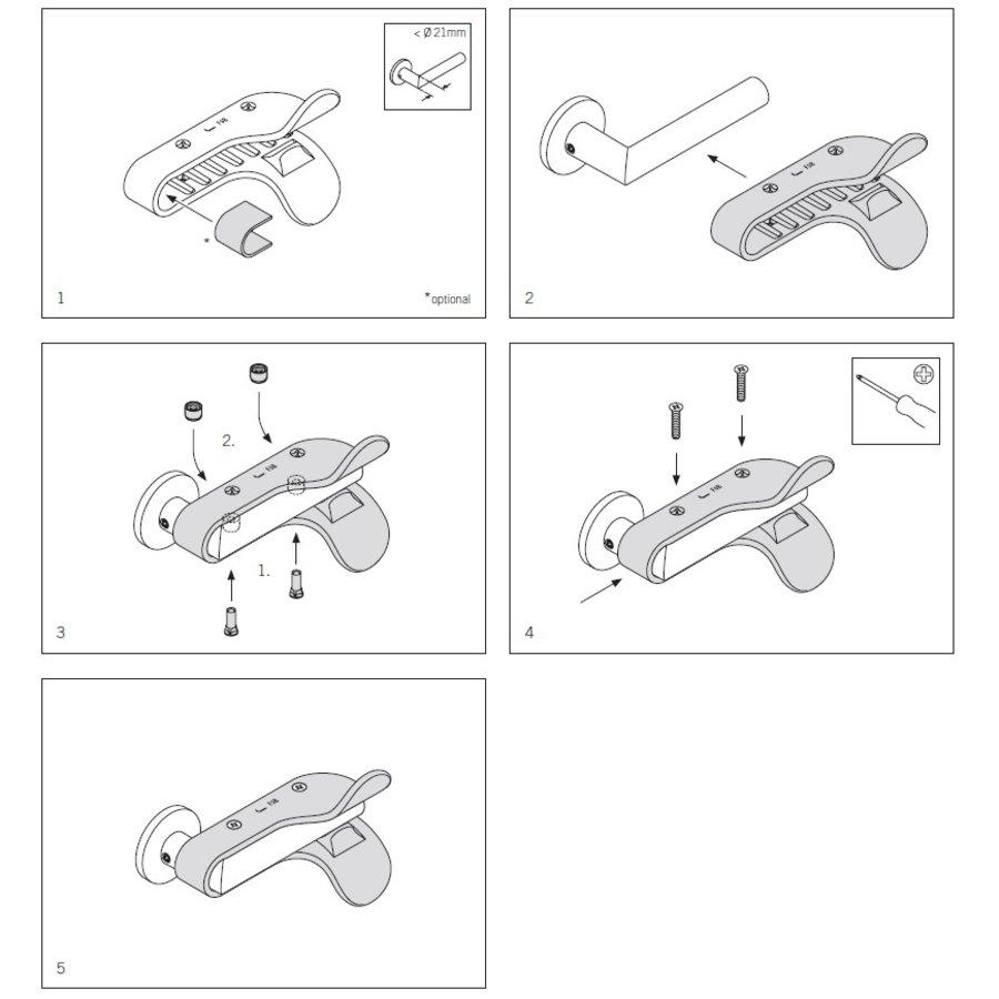 FSB Corona kunststof deurkruk beschermgreep voor onderarmbediening