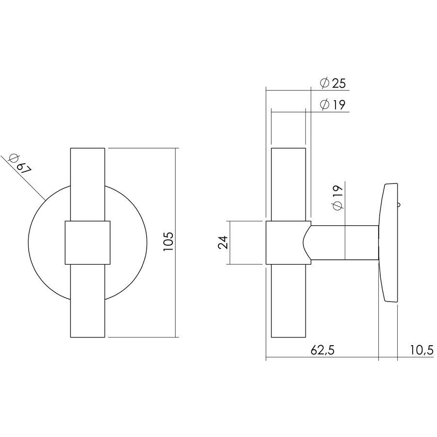 Intersteel Bouton de porte avant T-droit sur plaque arrière ronde en acier inoxydable brossé