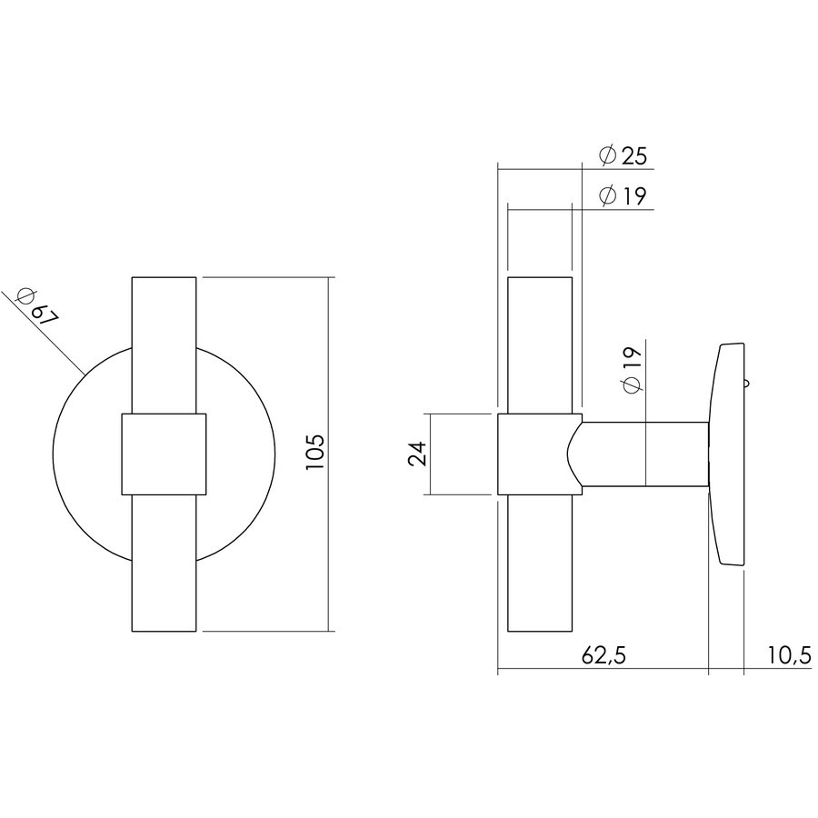 Intersteel Front door knob T-straight on round back plate brushed stainless steel