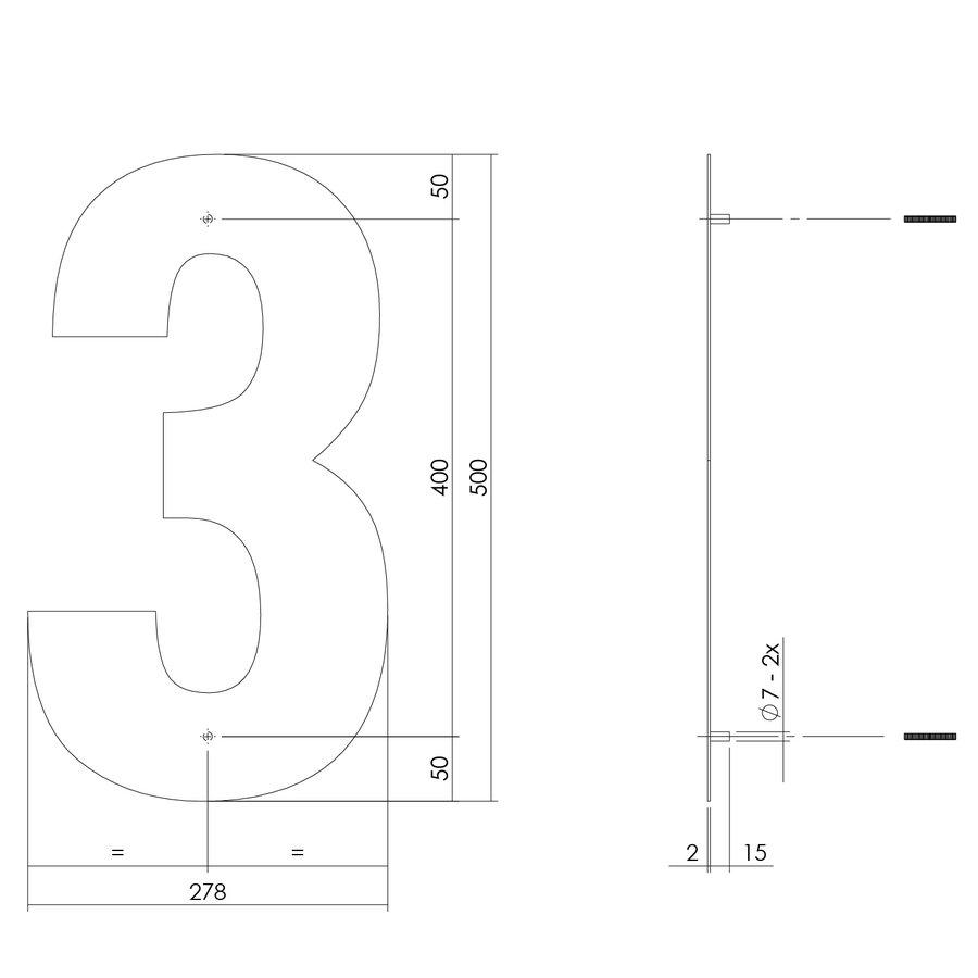 RVS huisnummer 3  met een hoogte van 500mm