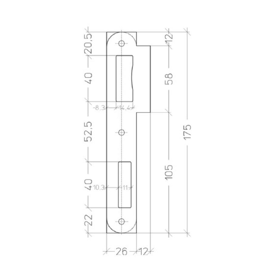 Zwarte afgeronde sluitplaat voor Litto inbouwsloten reeks 53 - 175x50mm - korte lip 12mm