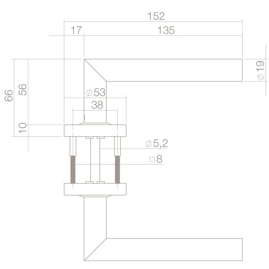 Deurkruk recht hoek 90° Ø19MM op rond massief RVS rozet met 2-weg veercontructie