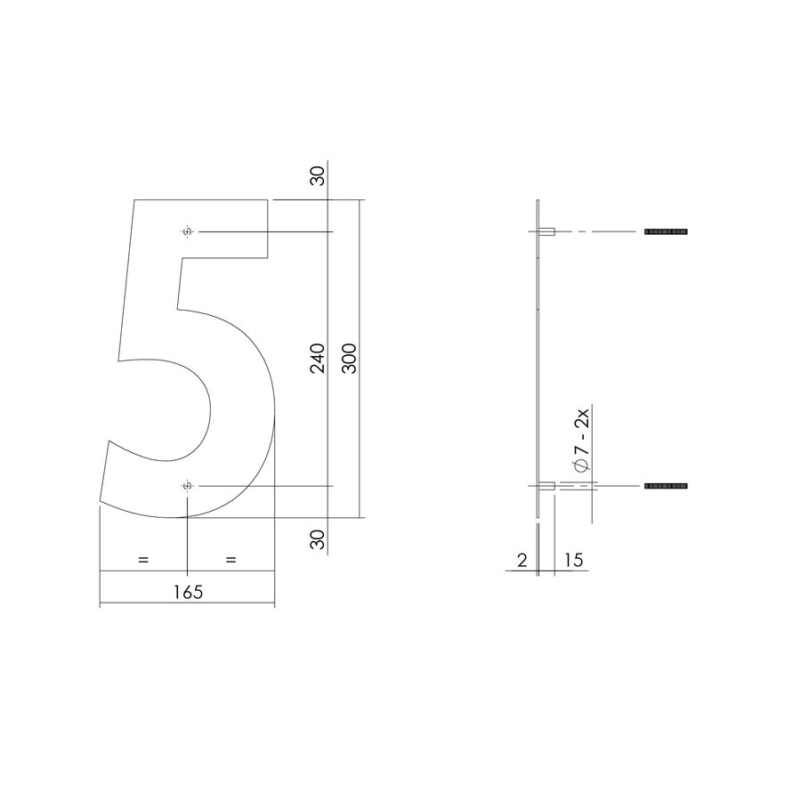 RVS huisnummer 5  met een hoogte van 300mm