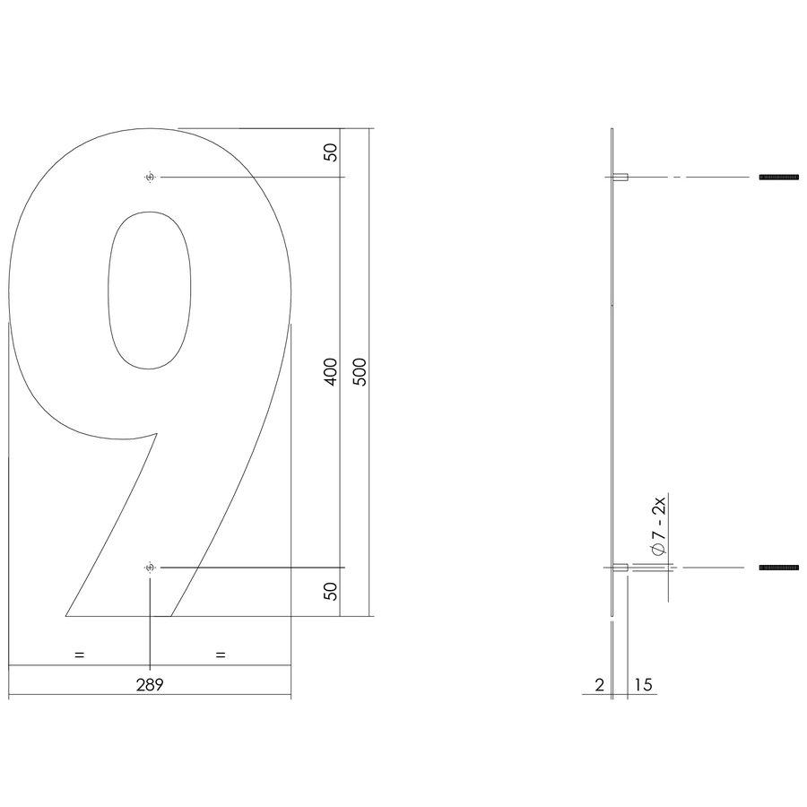 Mat zwart RVS huisnummer 9 met een hoogte van 500mm
