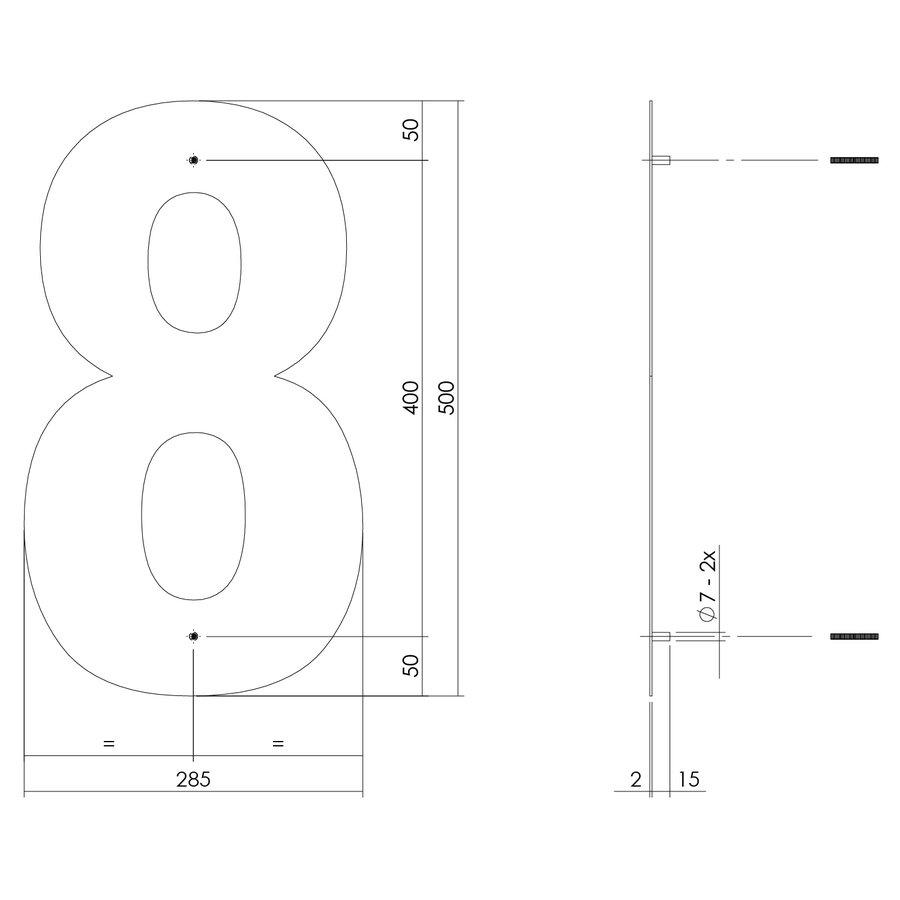 Mat zwart RVS huisnummer 8 met een hoogte van 500mm