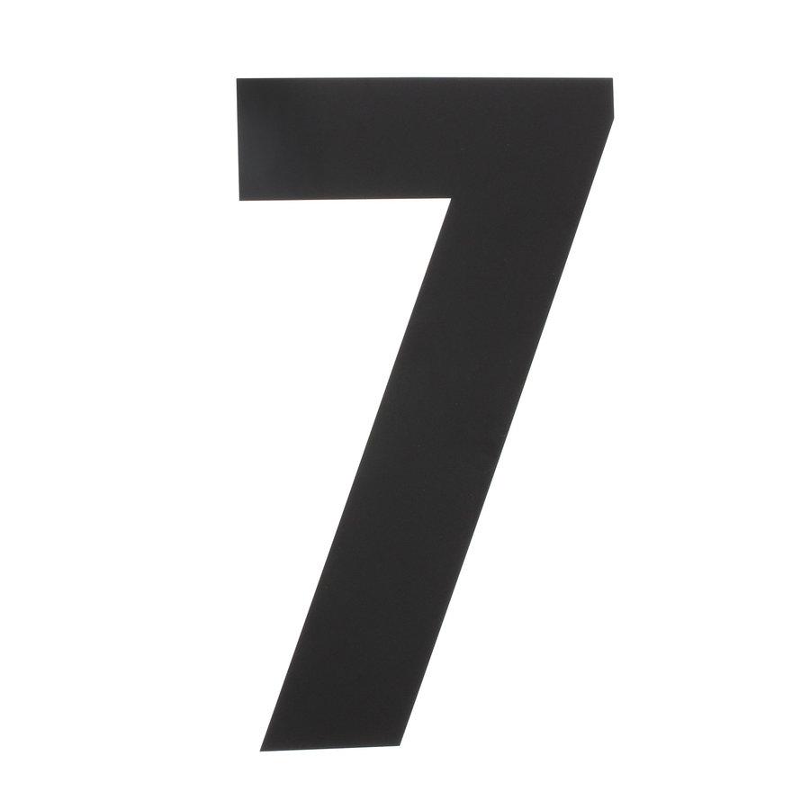 Mat zwart RVS huisnummer 7 met een hoogte van 500mm