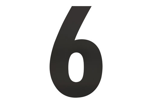 HOUSE NUMBER 6 XXL HEIGHT 500MM STAINLESS STEEL / MATT BLACK