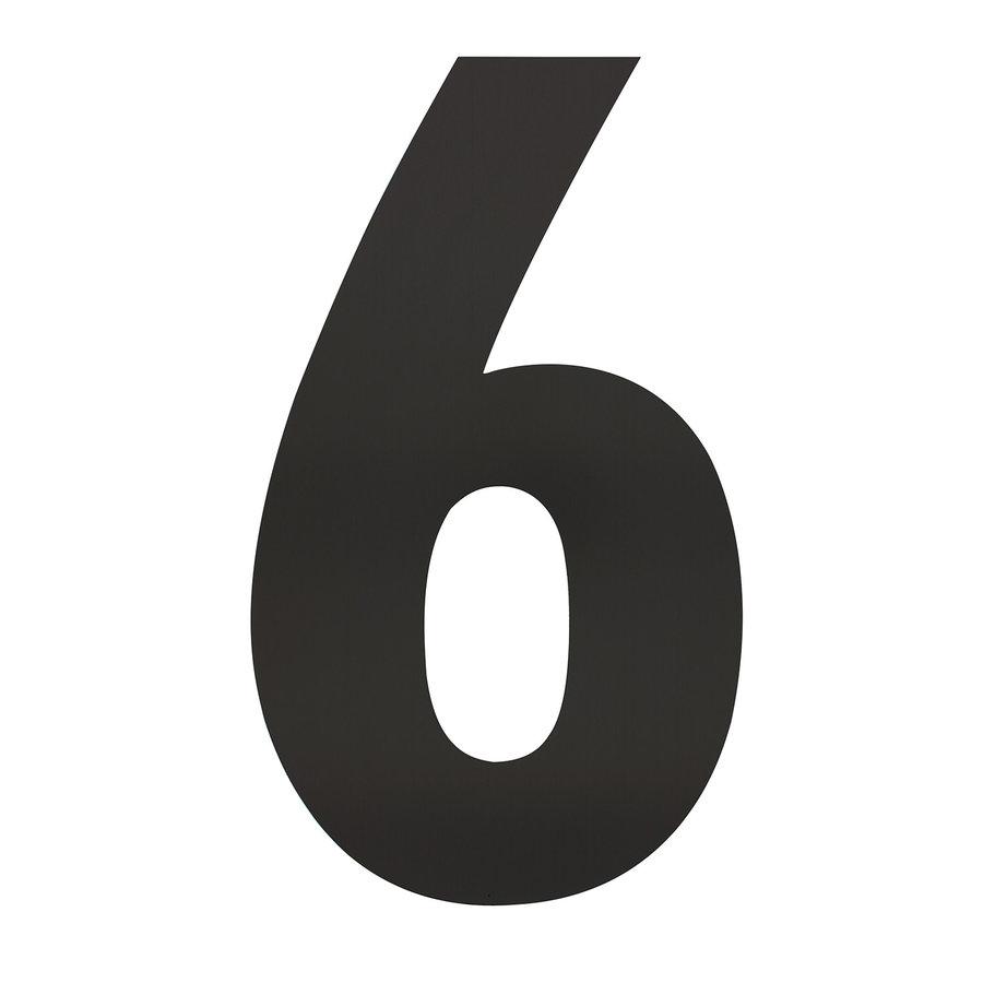 Mat zwart RVS huisnummer 6 met een hoogte van 500mm