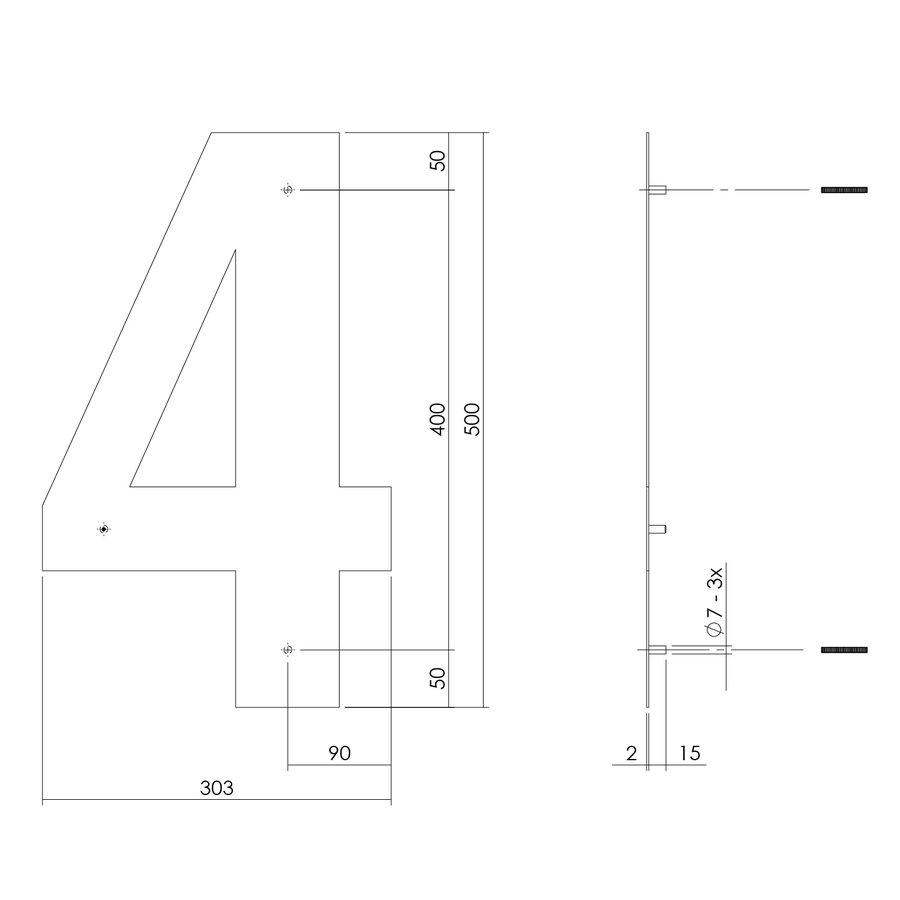 Mat zwart RVS huisnummer 4 met een hoogte van 500mm
