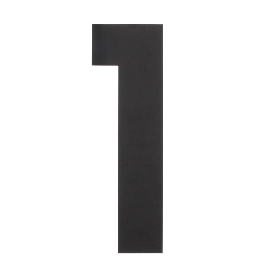 Mat zwart RVS huisnummer 1 met een hoogte van 500mm