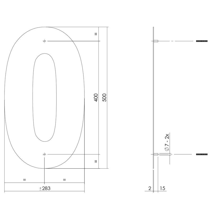 Mat zwart RVS huisnummer 0 met een hoogte van 500mm