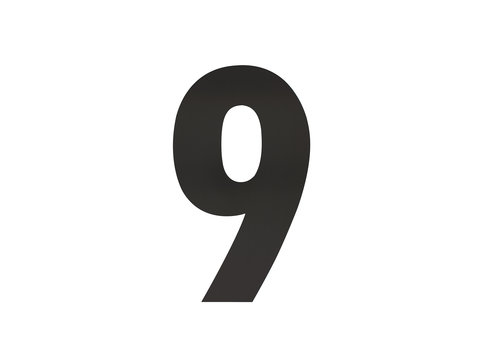 Schwarze Hausnummer 9 - XL 300mm
