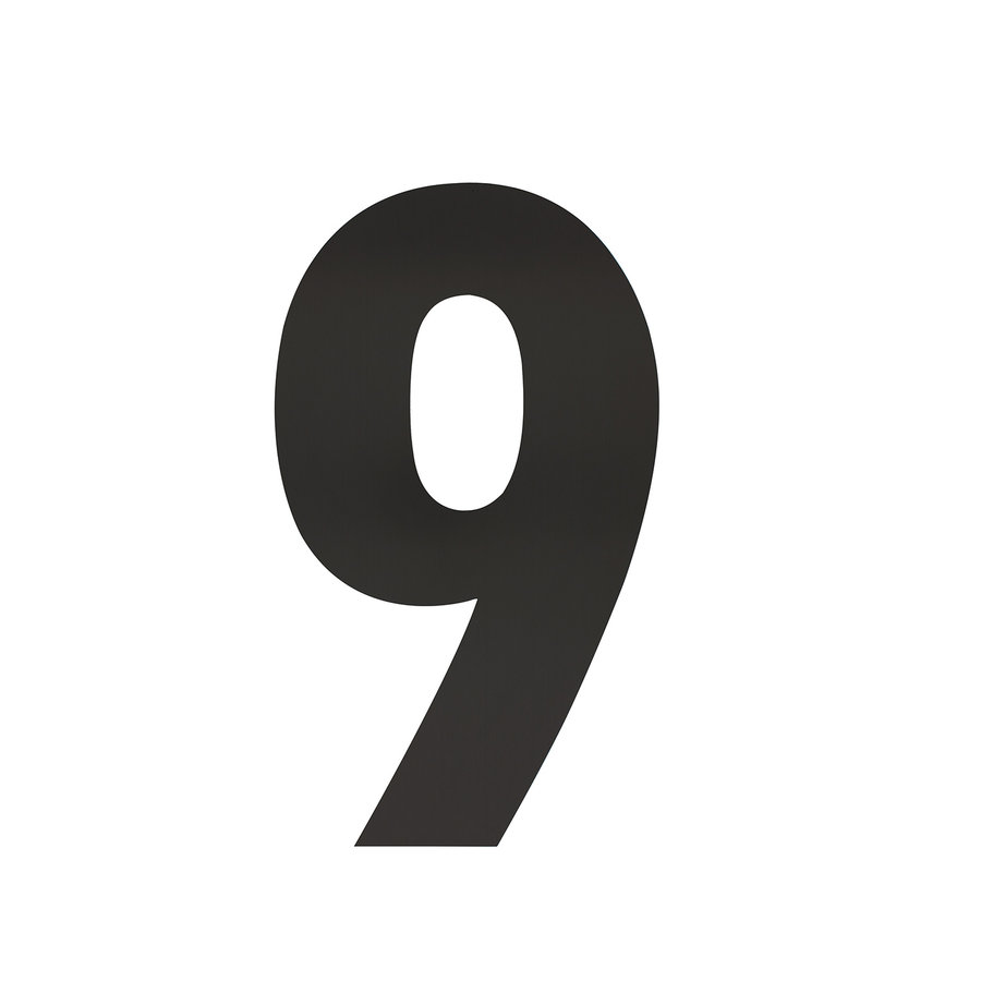 Mat zwart RVS huisnummer 9 met een hoogte van 300mm