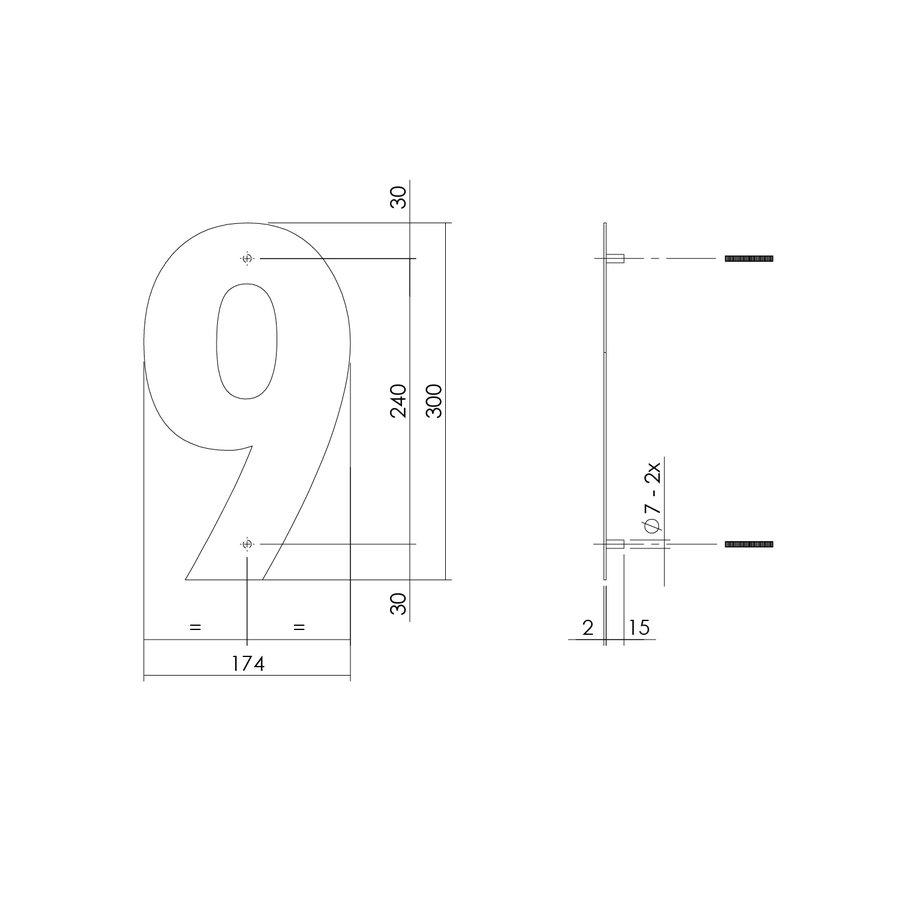 HUISNUMMER 9 XL HOOGTE 300MM RVS/MAT ZWART