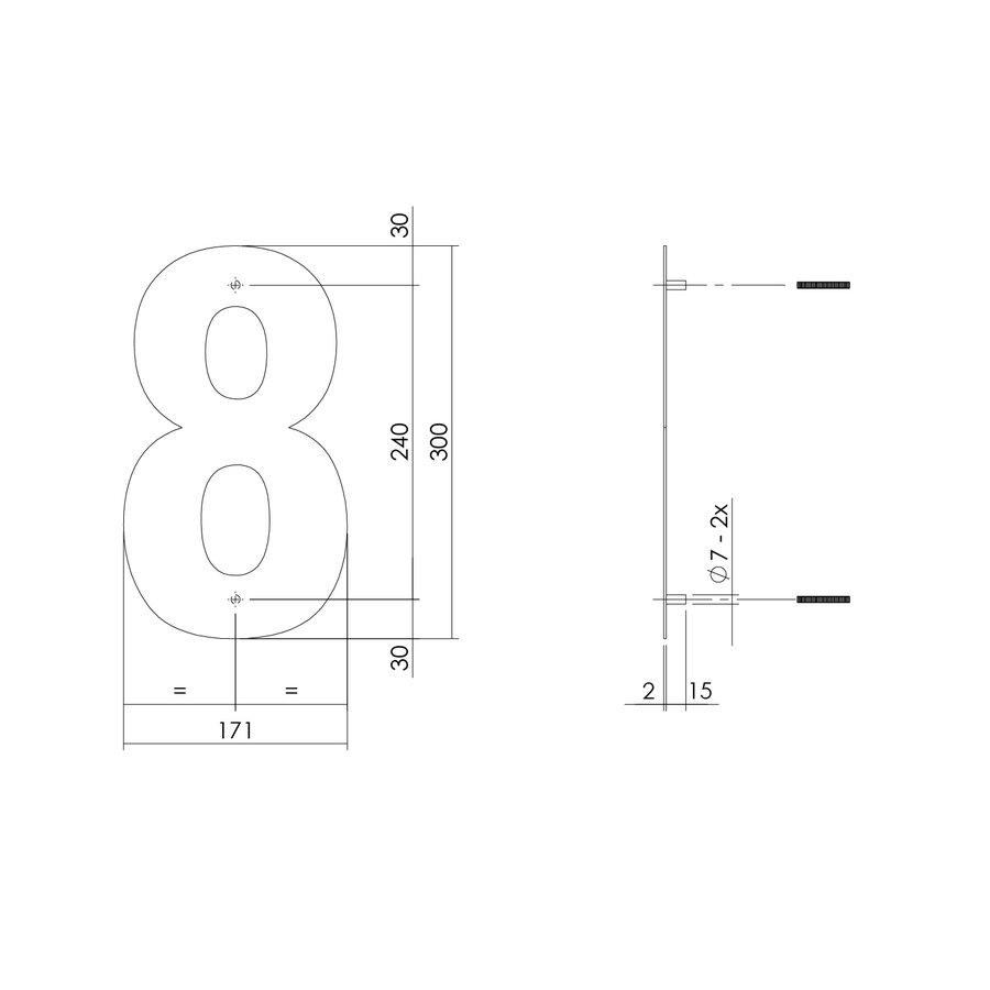 HUISNUMMER 8 XL HOOGTE 300MM RVS/MAT ZWART