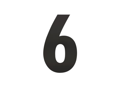 Schwarze Hausnummer 6 - XL 300mm
