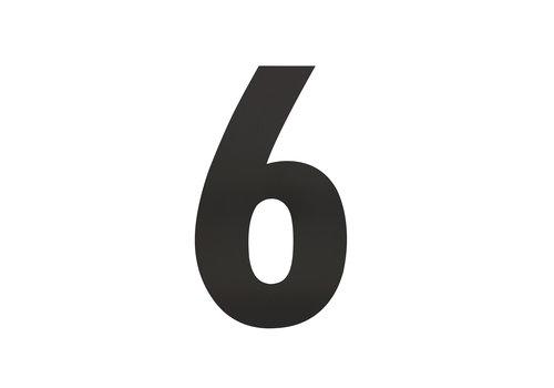Zwart huisnummer 6 - XL 300mm