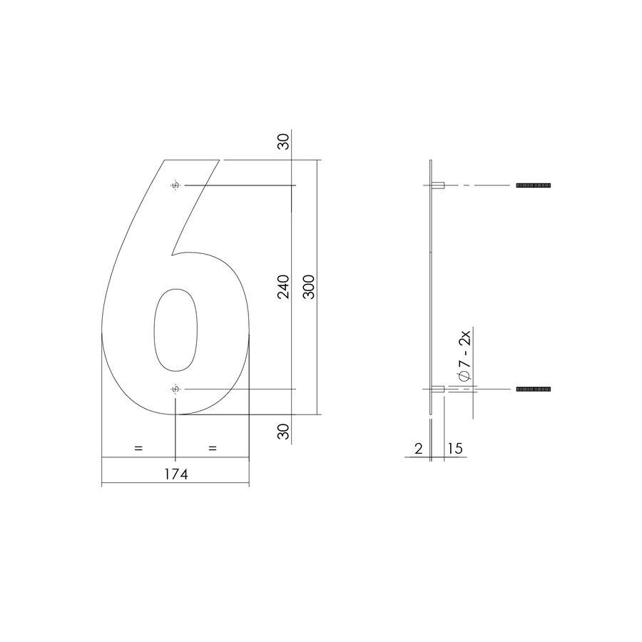 HUISNUMMER 6 XL HOOGTE 300MM RVS/MAT ZWART