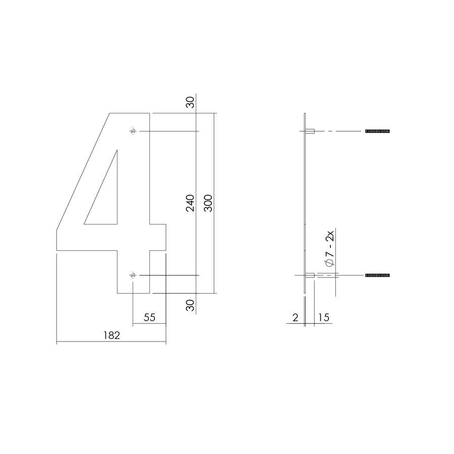 Mat zwart RVS huisnummer 4 met een hoogte van 300mm