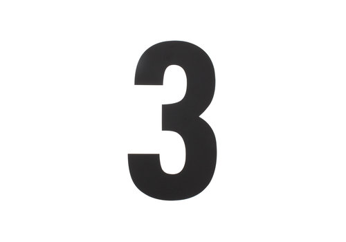 HOUSE NUMBER 3 XL HEIGHT 300MM STAINLESS STEEL / MATT BLACK