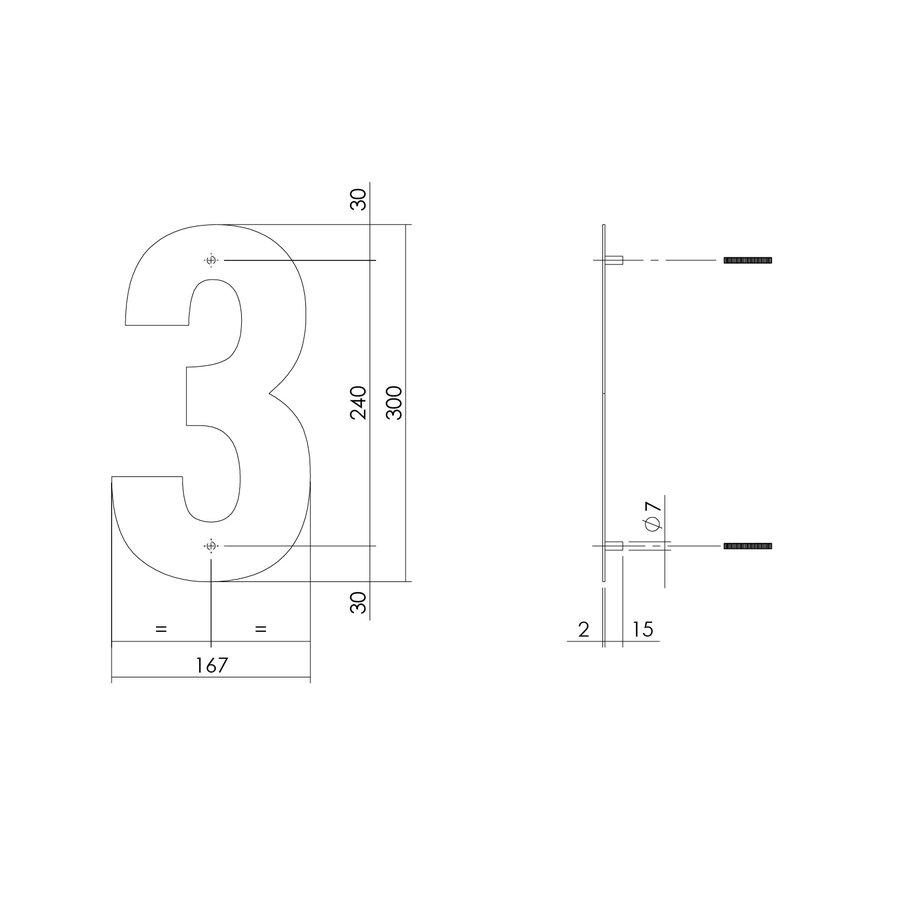 HUISNUMMER 3 XL HOOGTE 300MM RVS/MAT ZWART