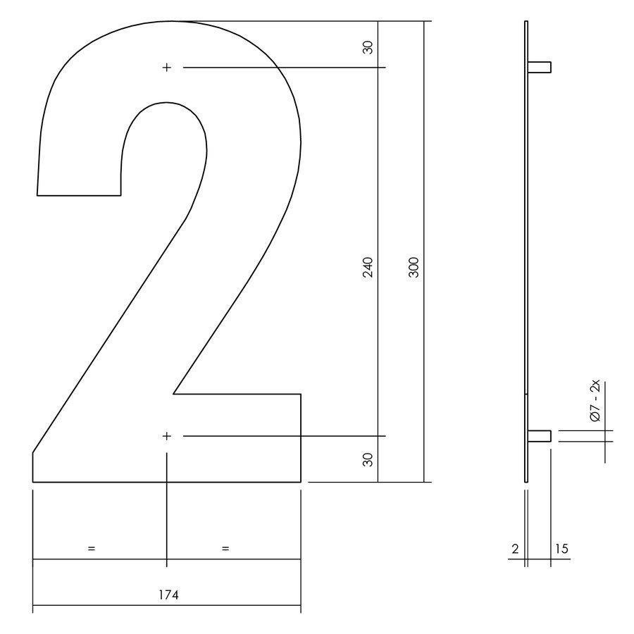 HUISNUMMER 2 XL HOOGTE 300MM RVS/MAT ZWART