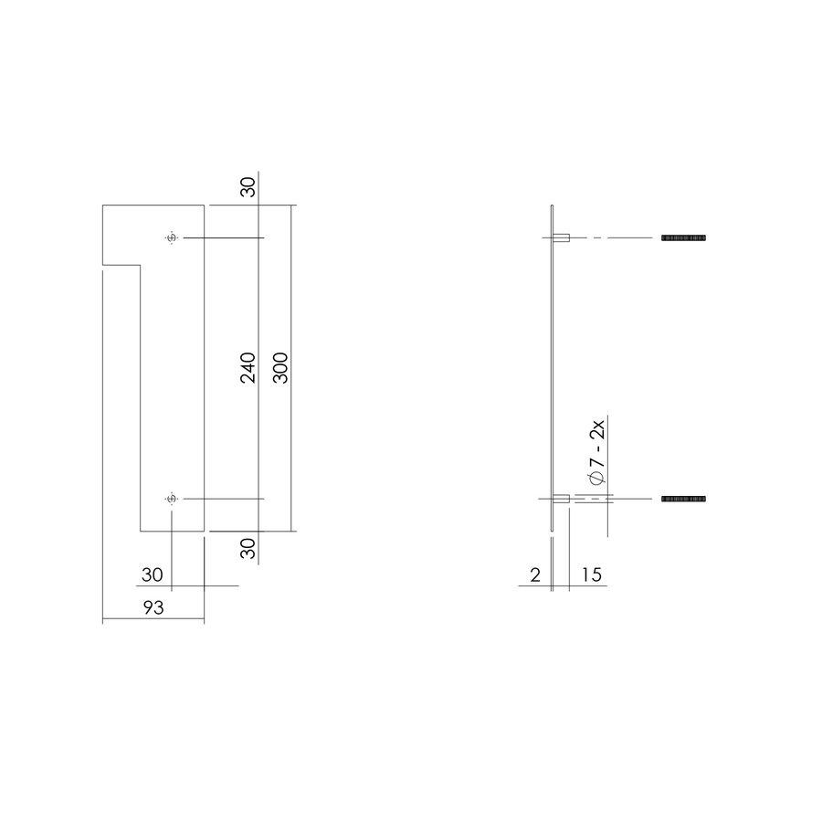 HUISNUMMER 1 XL HOOGTE 300MM RVS/MAT ZWART