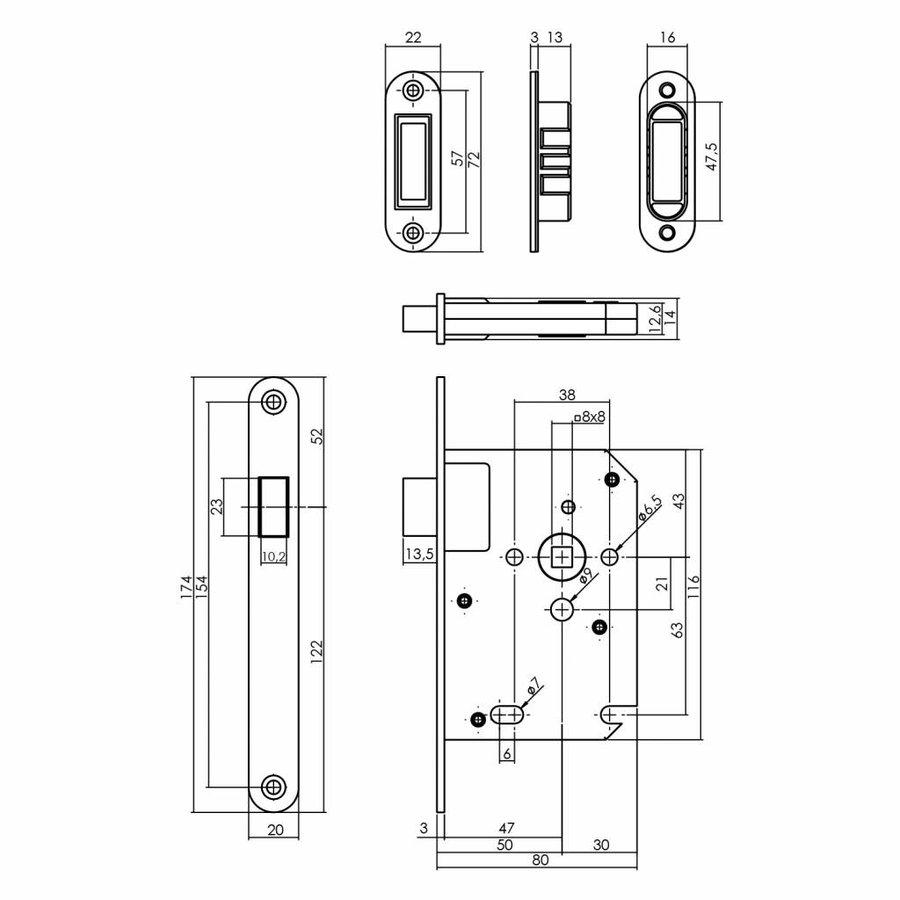 Woningbouw magneet loopslot, voorplaat RVS, 20x175, doorn 50mm incl. sluitplaat/kom