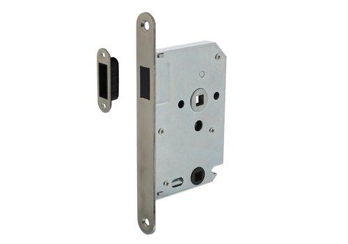 RVS magneet badkamer/toilet slot 63/8mm, 20x175, doorn 50mm  voorplaat afgerond, incl. sluitplaat/kom - Copy