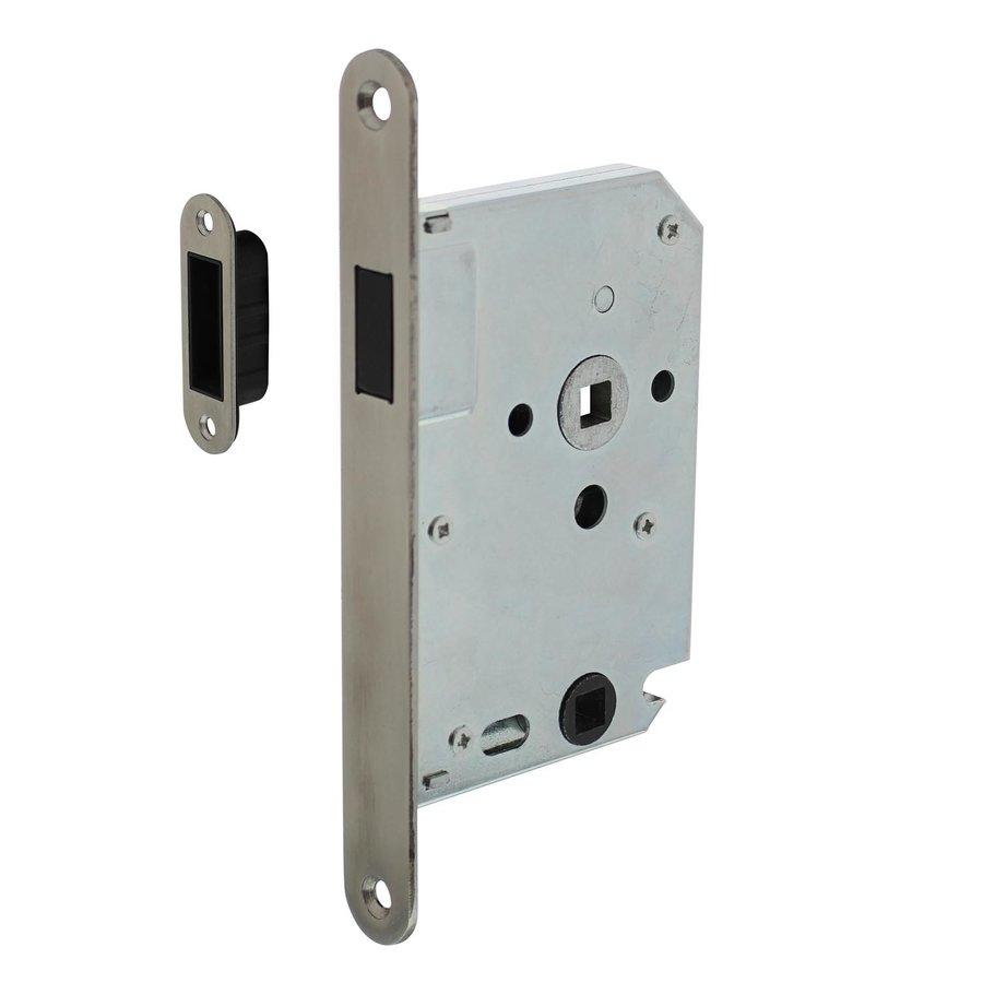 Edelstahlmagnet Bad- / Toilettenschloss 63 / 8mm, Frontplatte abgerundet, 20x175, Dorn 50mm inklusive Verschlussplatte / Schüssel - Kopie
