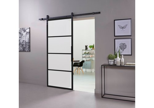 DIY SLIDING DOOR CUBO BLACK INCL. MATT GLASS 2150X980X28MM + BLACK SUSPENSION SYSTEM BASIC