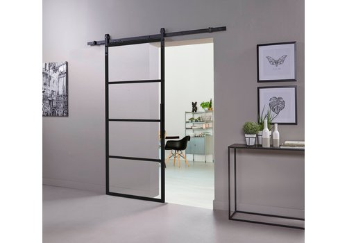 DIY SLIDING DOOR CUBO BLACK INCL. TRANSPARENT GLASS 2150X980X28MM + BLACK SUSPENSION SYSTEM BASIC