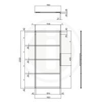 DIY-SCHUIFDEUR CUBO ZWART INCL. TRANSPARANT GLAS 2350X980X28MM + ZWART OPHANGSYSTEEM BASIC