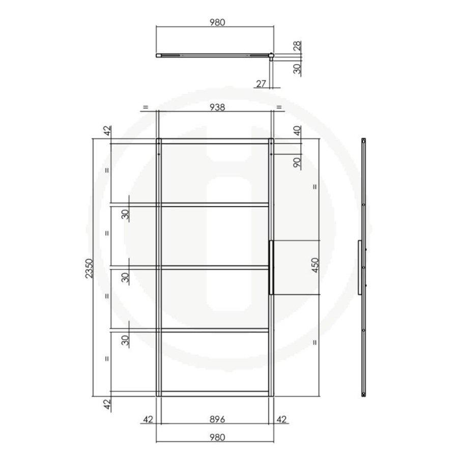 DIY SCHIEBETÜR CUBO BLACK INCL. TRANSPARENTES GLAS 2350X980X28MM + SCHWARZES GRUNDFEDERUNGSSYSTEM