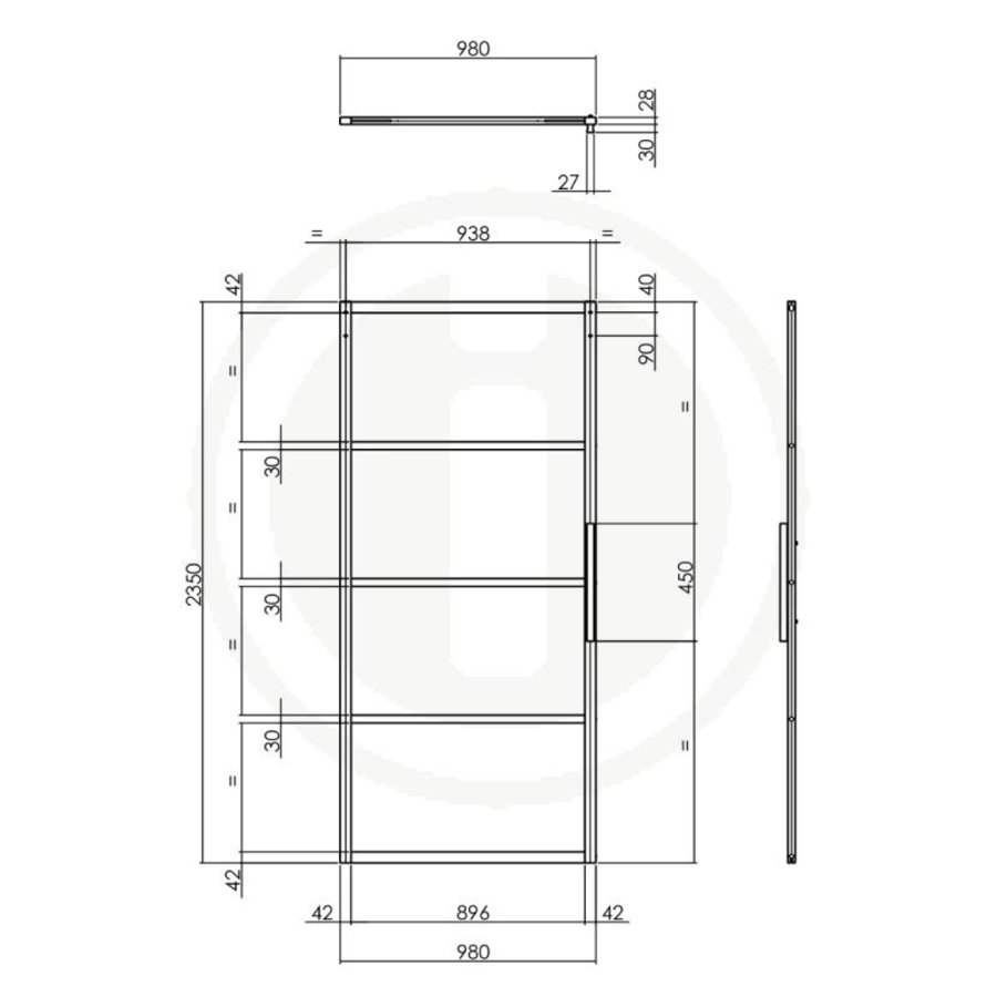 DIY SLIDING DOOR CUBO BLACK INCL. TRANSPARENT GLASS 2350X980X28MM + BLACK BASIC SUSPENSION SYSTEM