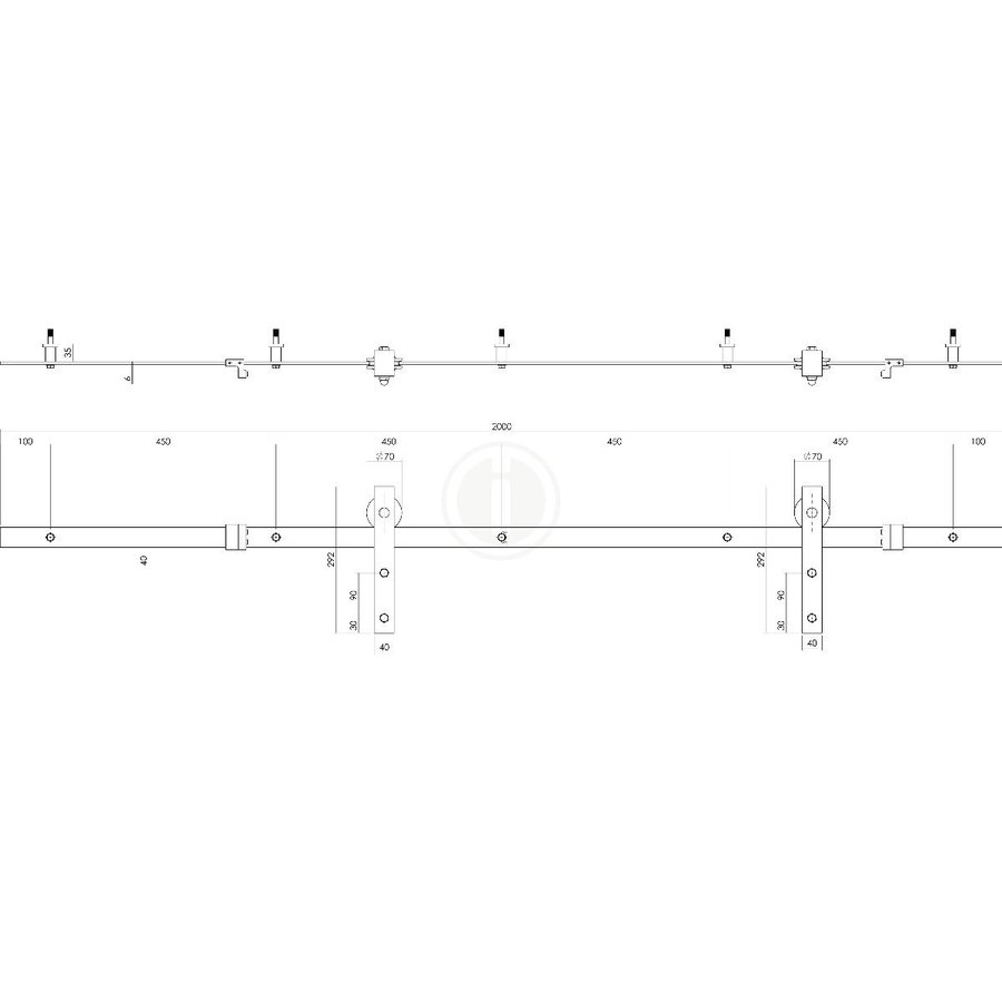 DIY SCHIEBETÜR CUBO BLACK INCL. MATT GLASS 2350X980X28MM + SCHWARZES GRUNDFEDERUNGSSYSTEM