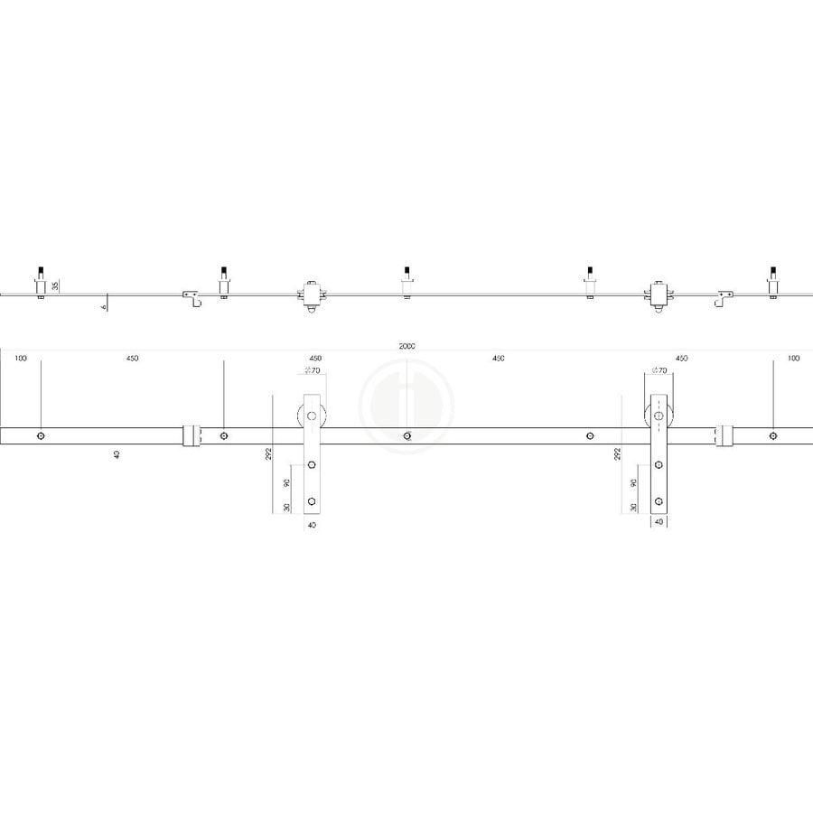 DIY-SCHUIFDEUR CUBO ZWART INCL. MAT GLAS 2350X980X28MM + ZWART OPHANGSYSTEEM BASIC