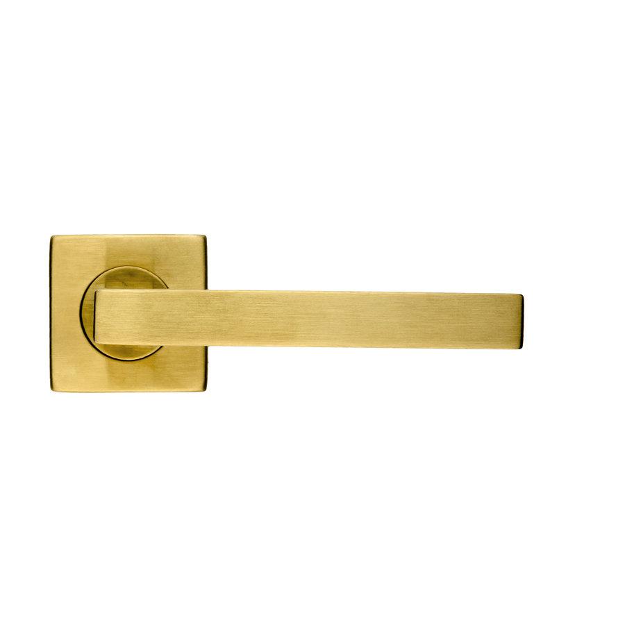 Deurklinken Kubic Shape in mat koper zonder sleutelplaatjes
