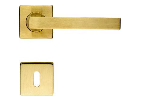 Poignées de porte Kubic Shape cuivre mat avec plaques à clés