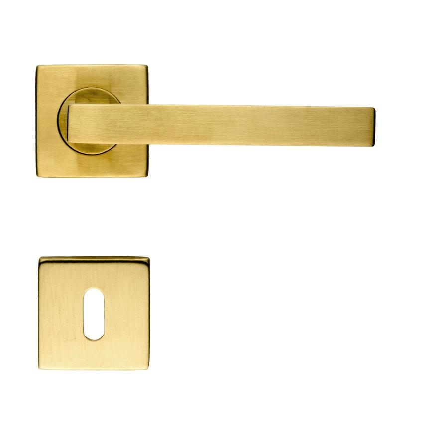 Deurklinken Kubic Shape mat koper met sleutelplaatjes