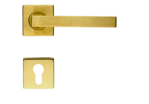 Poignées de porte Kubic Shape cuivre mat avec PZ