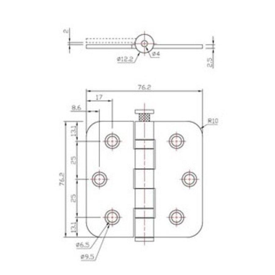 RVS kogellagerscharnier 76x76x2.5mm afgerond