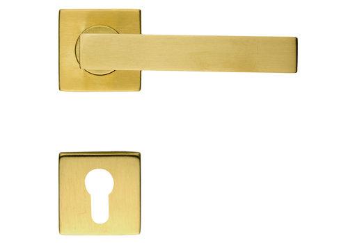 Door handles Cosmic matt copper with cylinder plates