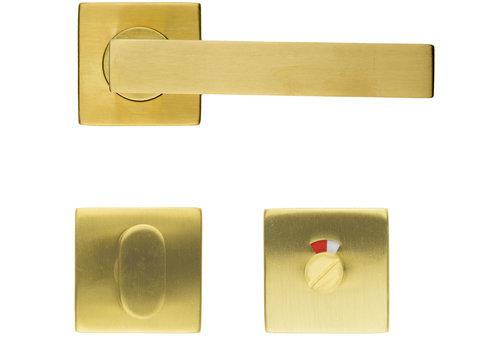 Cosmic matt copper door handles with WC fittings