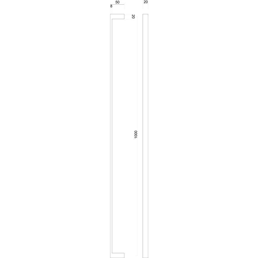 DOOR HANDLE COSMIC 20/1000 MATT COPPER BLIND MOUNTING