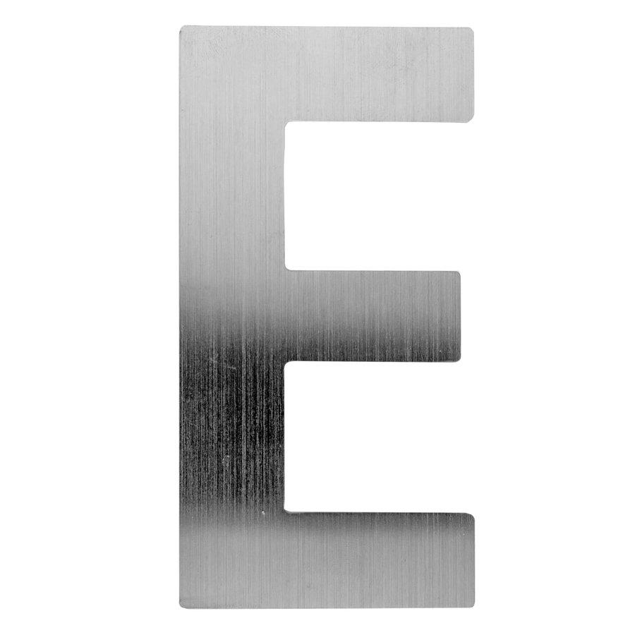 Huisletter E rvs plat 130mm