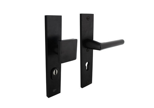 SKG3 safety shields rectangular spring loaded handle/handle profile cylinder hole 55mm with core pull protection aluminum black