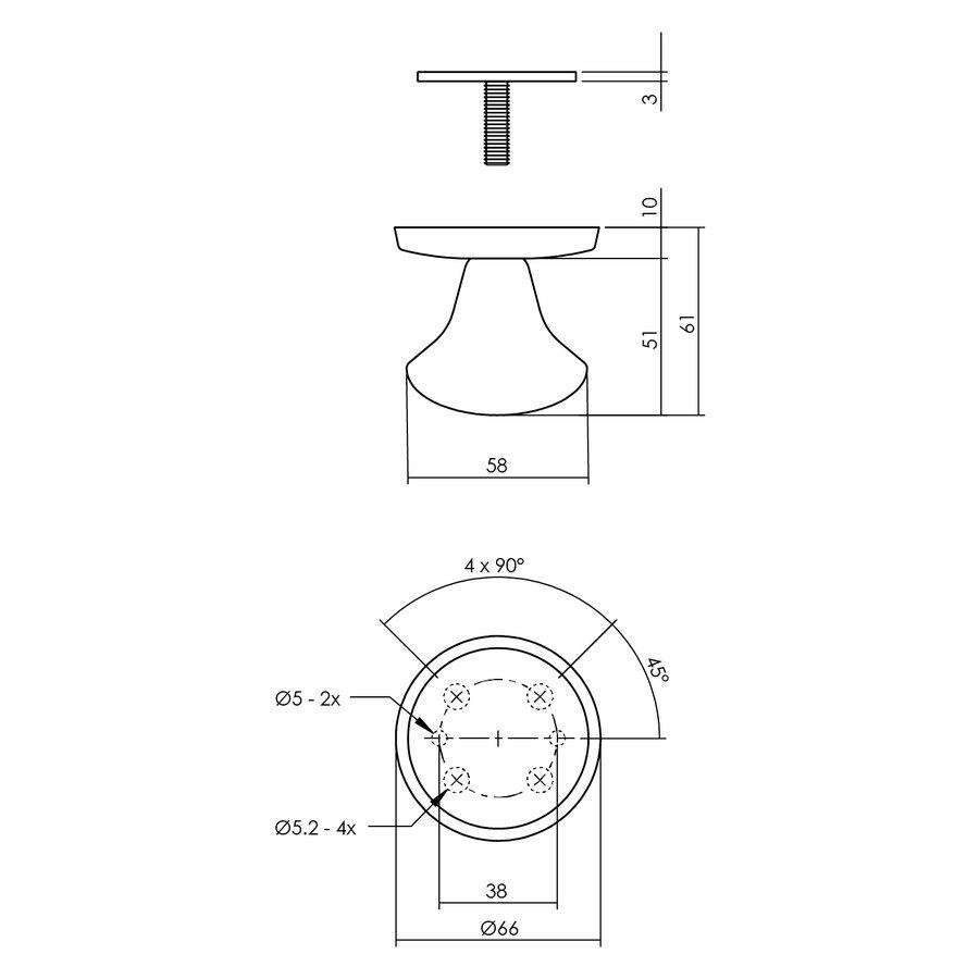 Set voordeurbeslag rond: dubbel geveerde deurklink, veiligheidscilinderplaatjes en deurbel in mat zwart
