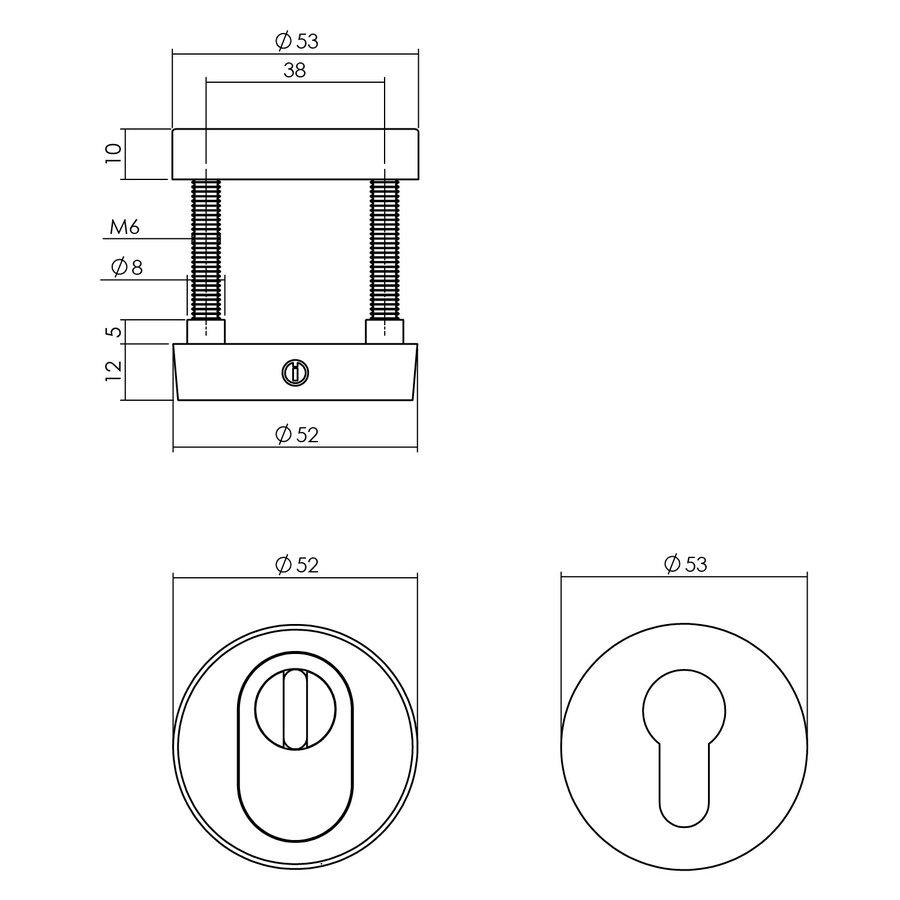 Set voordeurbeslag rond: dubbel geveerde deurklink, veiligheidscilinderplaatjes, deurbel en briefplaat met tochtwering in mat zwart
