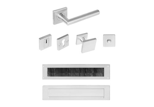 Complete front door set with SKG3 square stainless steel security fittings